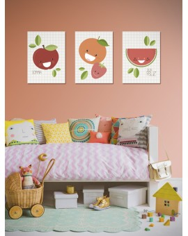 Kit com 3 Placas Decorativas Frutas - PD012